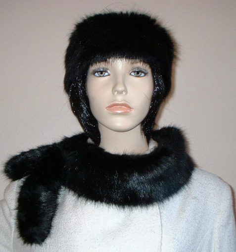 Black Mink Faux Fur Slim Collar/Headband