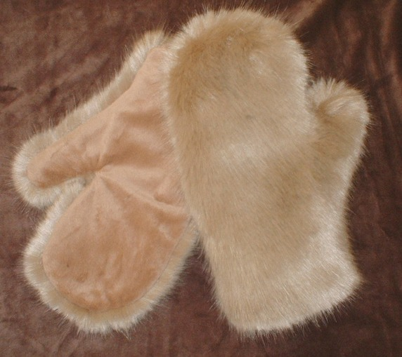 Honey Blonde Faux Fur Mittens
