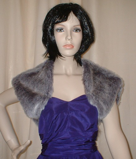 Silver Lavender Fox Faux Fur Shrug