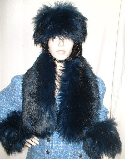 Midnight Blue Faux Fur Cuffs