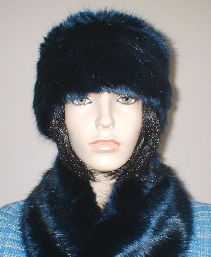 Midnight Navy Blue Faux Fur Headband