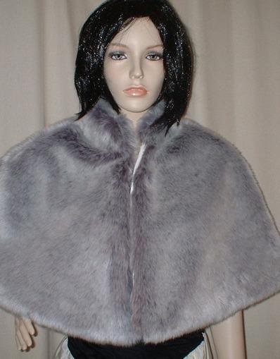Silver Lavender Fox Faux Fur Cape
