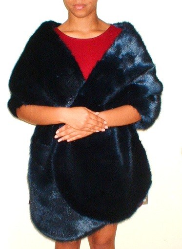 Midnight Navy Blue Faux Fur Long Stole