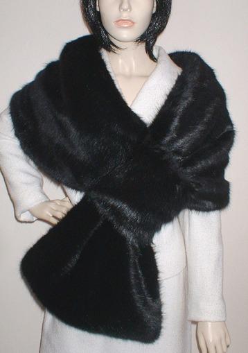 Black Mink Faux Fur Pull Through Stole