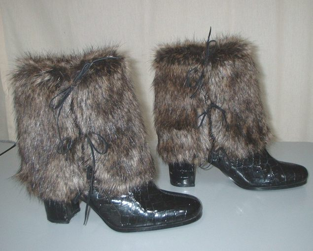 Brown Bear Faux Fur Boot Wraps