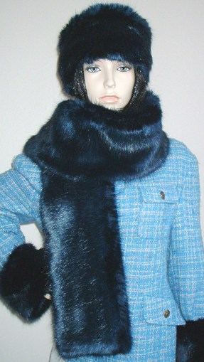 Midnight Navy Blue Faux Fur Scarf