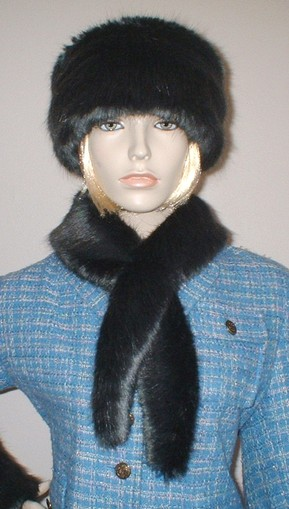 Charcoal Mink Faux Fur Slim Collar/Headband