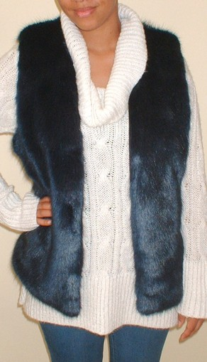 Midnight Navy Blue Faux Fur Gilet