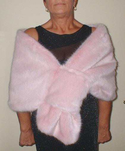 Raspberry Cream Mink Faux Fur Pull Through Stole