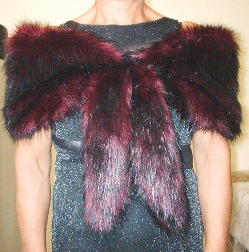 Tuscan Red Faux Fur Vintage Foxy Wrap