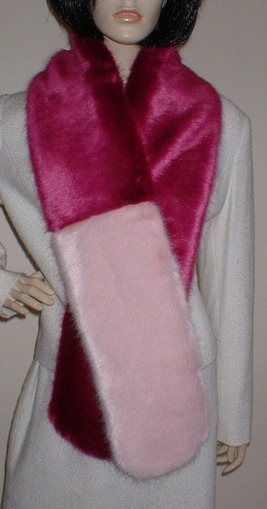 Two Tone Scarf with Hot Pink and Raspberry Cream Faux Fur