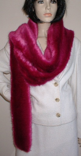 Hot Pink Mink Faux Fur Super Long Scarf