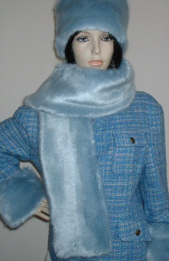 Powder Blue Faux Fur Scarf