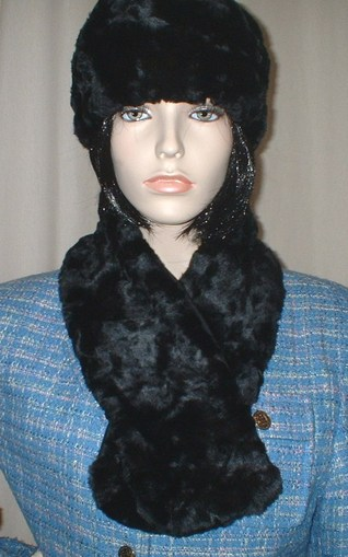 Black Astra Faux Fur Neck Scarf