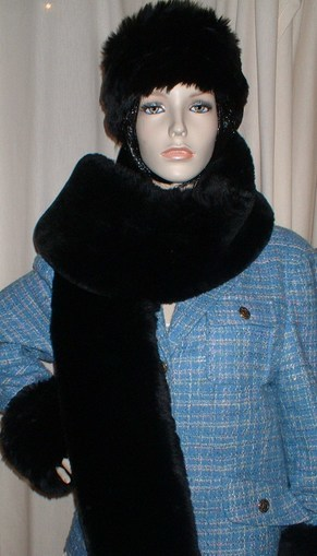 Black Mink Faux Fur Traditional Scarf