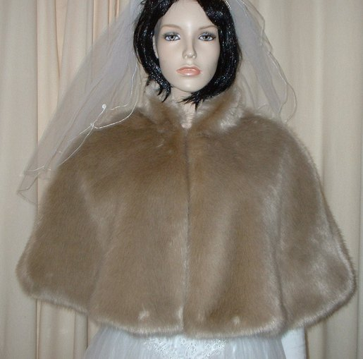 Honey Blonde Faux Fur Wedding Cape