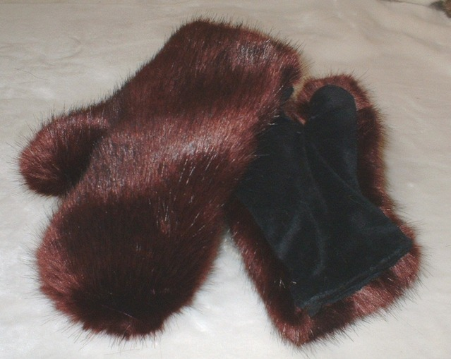 Burgundy Faux Fur Mittens