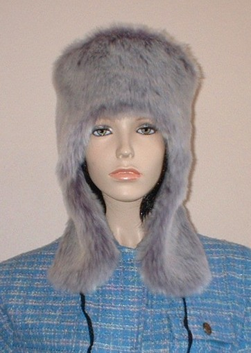 Silver Lavender Fox Faux Fur Trapper Hat