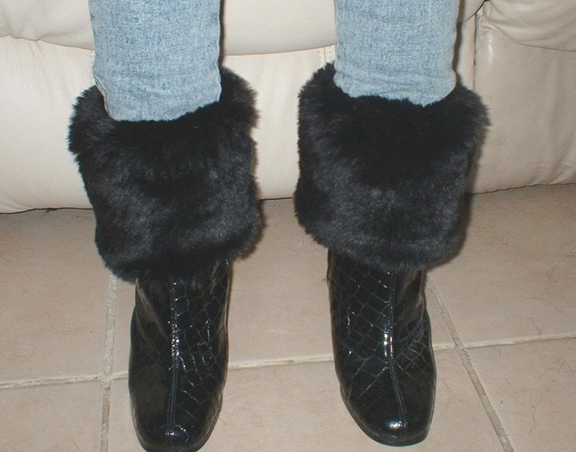 Black Mink Faux Fur Boot Toppers