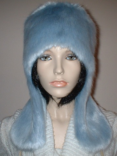 Powder Blue Faux Fur Trapper Hat
