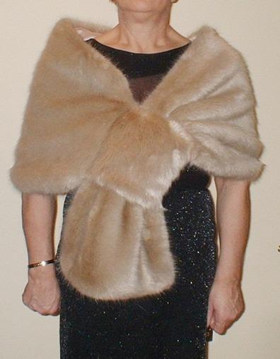 Honey Blonde Faux Fur Pull Through Stole