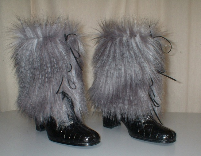 Siberian Wolf faux Fur Boot Wraps