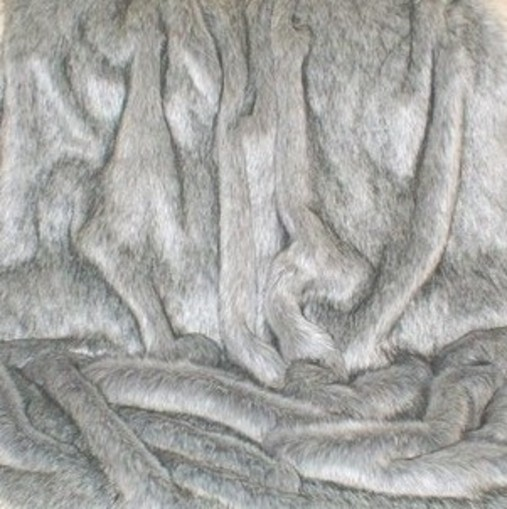 Silver Musquash Faux Fur Long Coat
