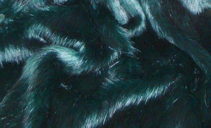 Emerald Black Faux Fur Fabric Per Meter
