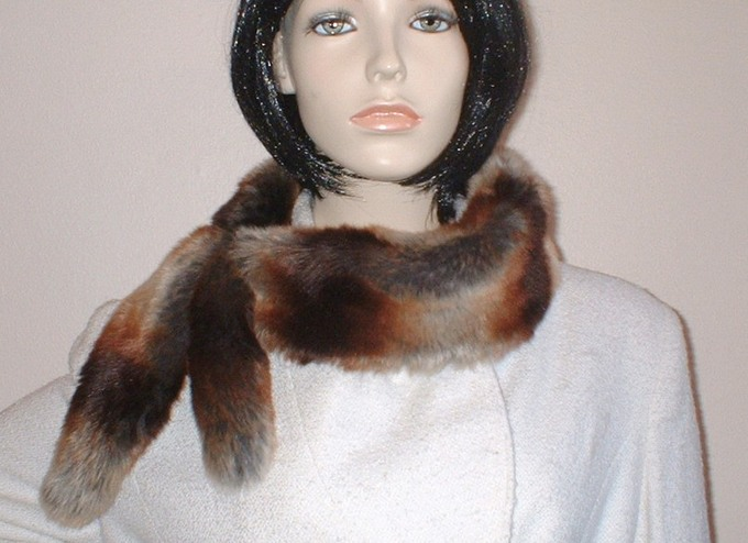 Golden Brown Chinchilla Faux Fur Slim Collar/Headband