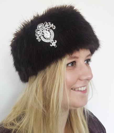Mahogany Mink Faux Fur Headband with Diamante Brooch