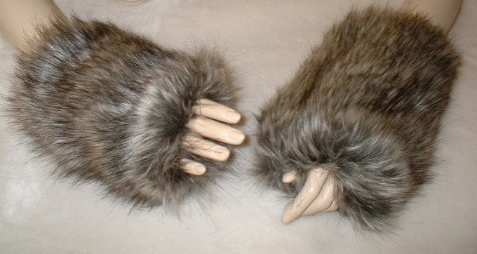 Timber Wolf Faux Fur Fingerless Mittens