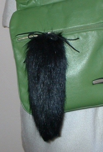 Black Bear Faux Fur Tail Handbag Key Charm