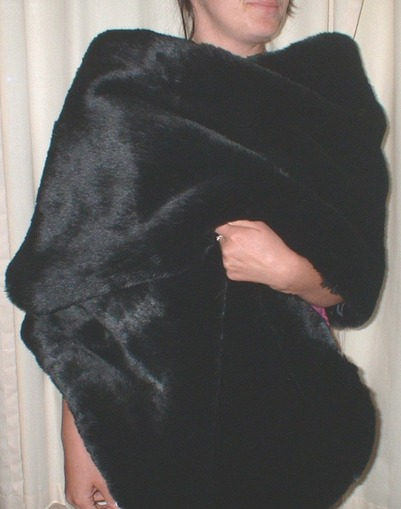Black Mink Faux Fur Long Stole