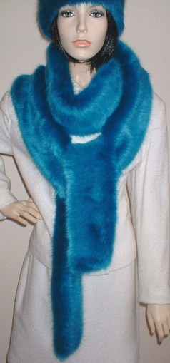 Azure Blue Faux Fur Super Long Scarf