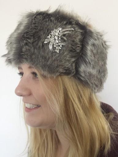 Smokey Mountain Faux Fur Headband with Diamante Brooch