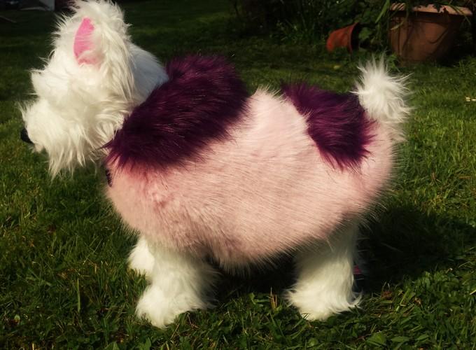 Raspberry Cream and Magenta Faux Fur Dog Coat