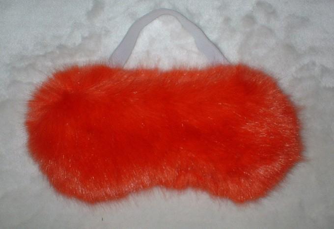 Coral Faux Fur Eye Mask