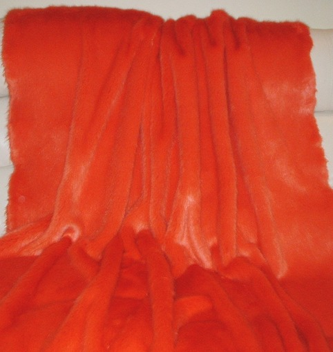 Coral Orange Baby Toddler Faux Fur Blanket Faux Fur