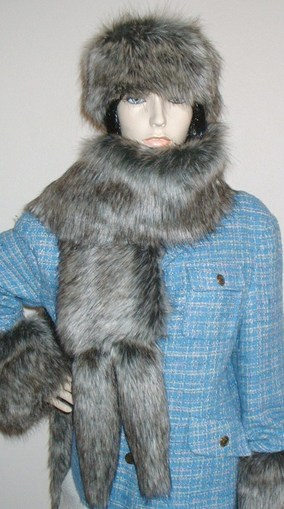 Timber Wolf Faux Fur Tail Scarf