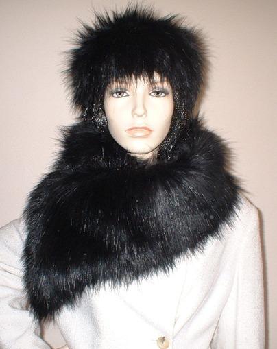Black Bear Faux Fur Asymmetric Scarf