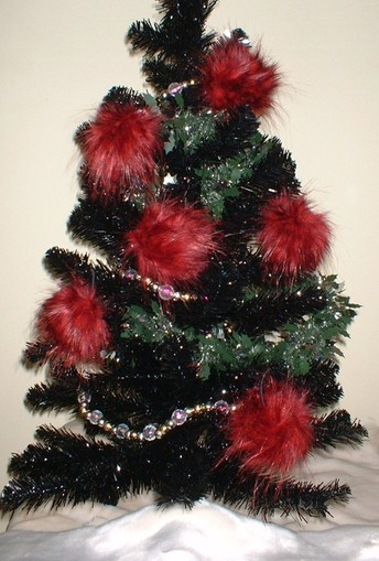 Scarlet Pimpernel Faux Fur Christmas Baubles