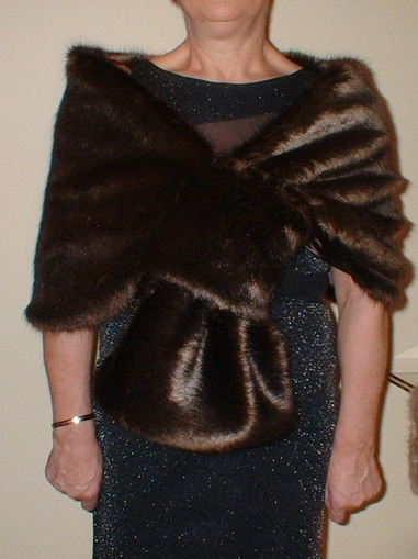 Mahogany Mink Faux Fur Pull Through Stole