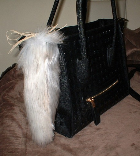 Snow Wolf Faux Fur Tail Handbag Charm