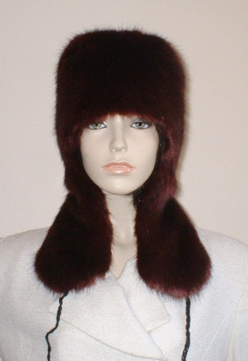 Burgundy Mink Faux Fur Trapper Hat