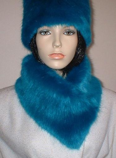 Azure Blue Faux Fur Long Collar