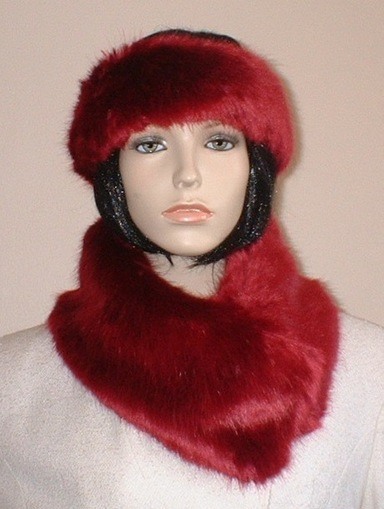 Ruby Red Faux Fur Long Collar