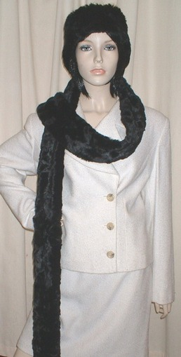 Black Astra Faux Fur Super Long Scarf
