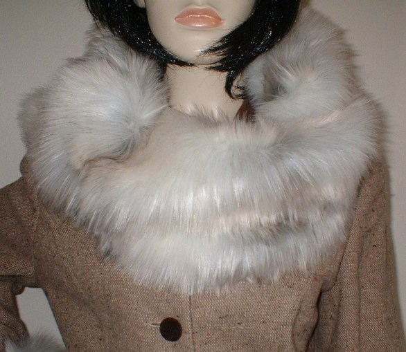 Snow Wolf Faux Fur Cowl/ Neck Warmer