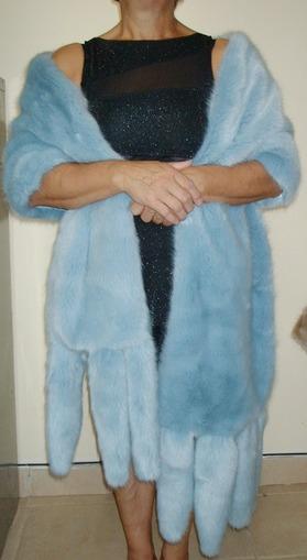 Powder Blue Faux Fur Tails Stole