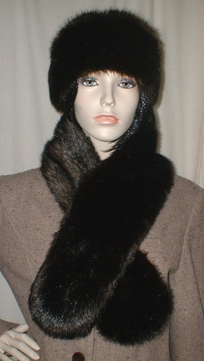 Mahogany Mink Faux Fur Pull Through Scarf